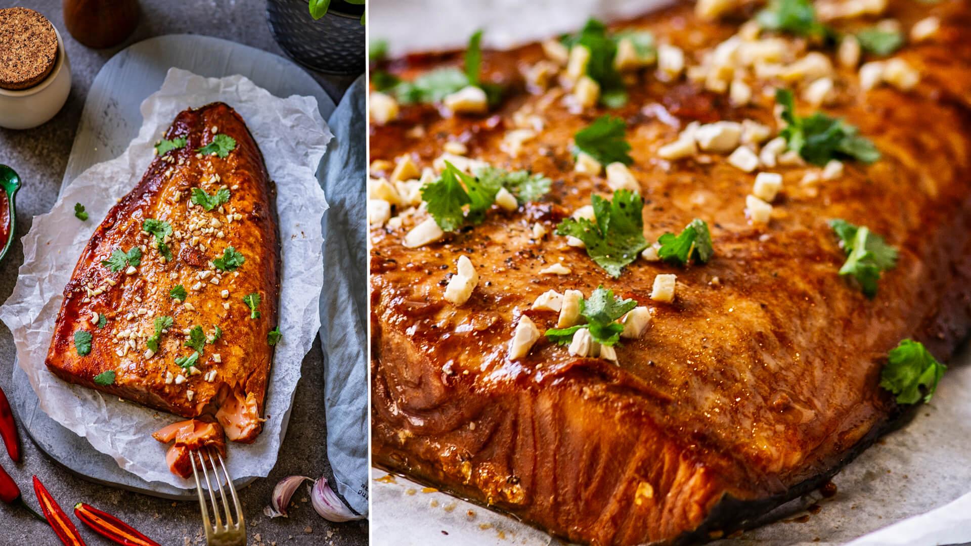 Филе лосося на гриле в остром маринаде